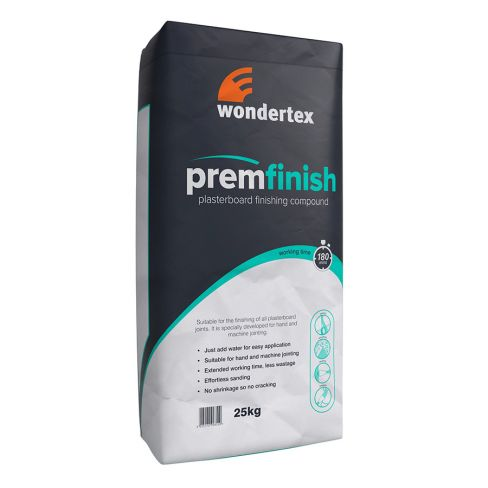 Wondertex PREM FINISH: Plasterboard Finishing Compound - 25kg (Single Bags)