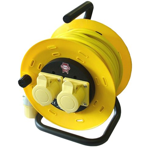 Faithfull Cable Reel 50 Metre 16amp 1.5mm Cable 110 Volt